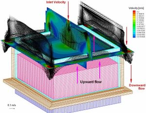 3D computational grid of crystallization domain and gas flow above the melt free surface